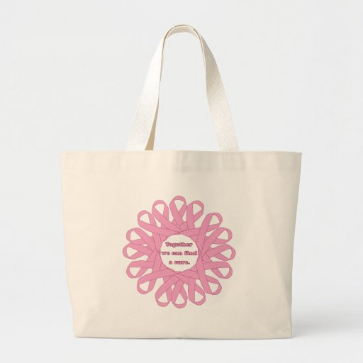 Together We Can Find a Cure Pink Ribbons Canvas Bag