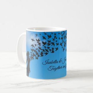 Together we fly | birds hearts sky silhouettes coffee mug