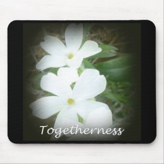 togetherness white floral mousepad