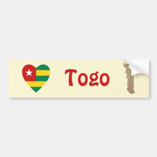 Togo Flag Heart + Map Bumper Sticker