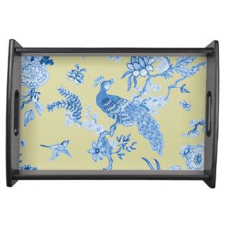 Toile_Blue*Mustard_Birds_Vanity_SM Serving Tray