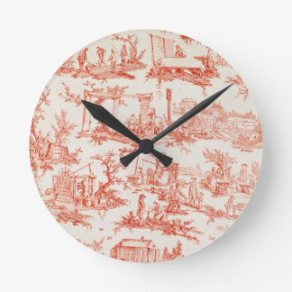 Toile de Jouy, illustrating the processes of manuf Round Clock