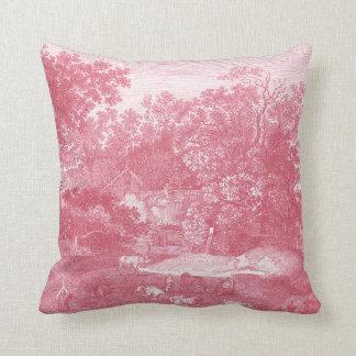Toile de Jouy Shabby Pink Pastoral Landscape Cushion