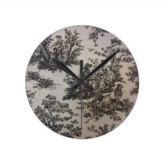Toile in Black & White Round Clock