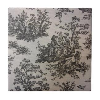 Toile in Black White Ceramic Tile