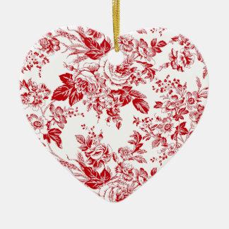 Toile Roses Ceramic Heart Decoration