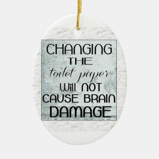 toilet paper humor ceramic ornament