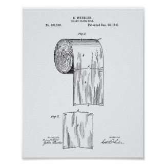 Toilet Paper Roll 1891 Patent Art - White Paper Poster