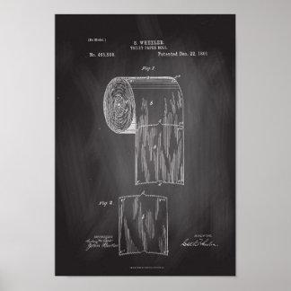 Toilet Paper Roll Patent Print Chalkboard Poster