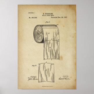 Toilet Paper Roll Patent Print Parchment Poster