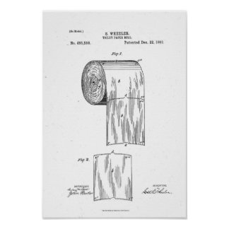 Toilet Paper Roll Patent Print White Poster