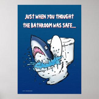 Toilet Shark Funny Poster