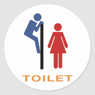 toilet sign classic round sticker