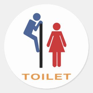 toilet sign round sticker