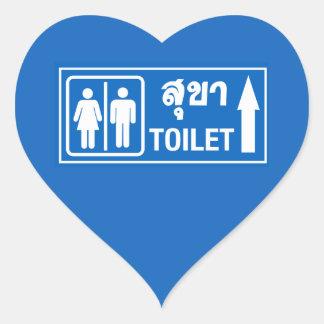 Toilet Sign, Thailand Heart Sticker
