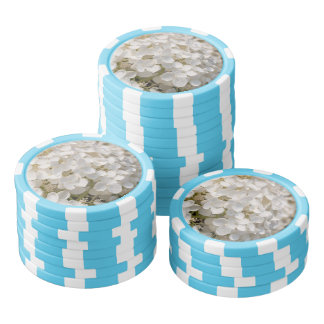 Token of poker, flowers white