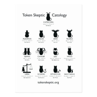 Token Skeptic Catology / Astrology Postcard