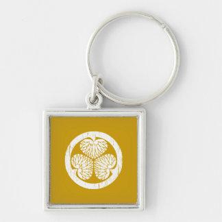 Tokugawa white crest distressed key ring
