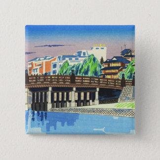 Tokuriki Tomikichiro Sanjo Bridge, Kyoto japanese 15 Cm Square Badge