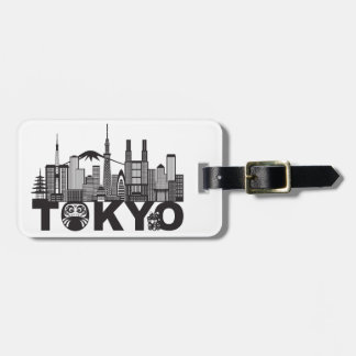 Tokyo City Skyline Text Black and White Luggage Tag