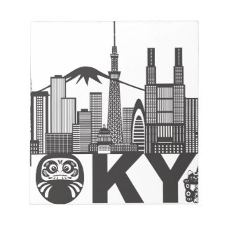 Tokyo City Skyline Text Black and White Notepad
