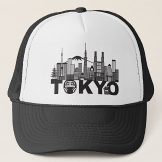 Tokyo City Skyline Text Black and White Trucker Hat