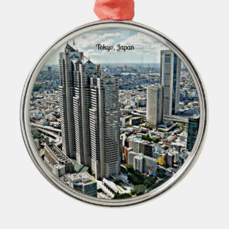 Tokyo, Japan cityscape Silver-Colored Round Decoration