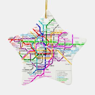 Tokyo Japan Subway Map Ceramic Star Decoration