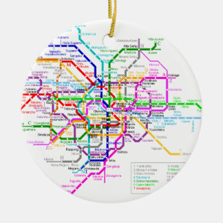 Tokyo Japan Subway Map Round Ceramic Decoration