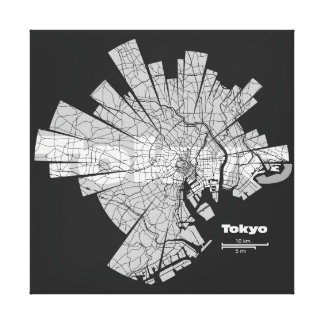 Tokyo Map Wrapped Canvas Canvas Print