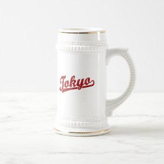Tokyo script logo in red mugs