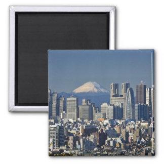 Tokyo, Shinjuku District Skyline, Mount Fuji, Square Magnet