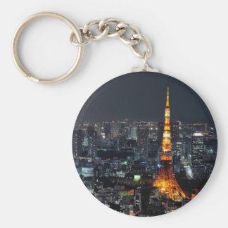 Tokyo Tower by Night Basic Round Button Key Ring