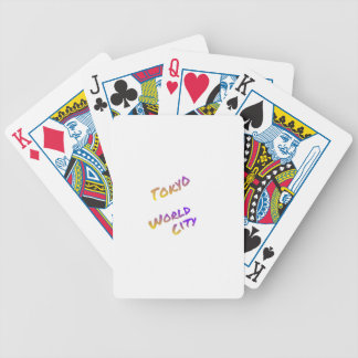 Tokyo world city, colorful text art bicycle playing cards