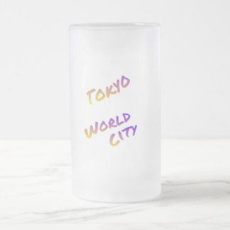Tokyo world city, colorful text art frosted glass beer mug