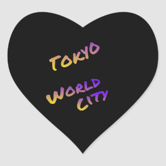 Tokyo world city, colorful text art heart sticker