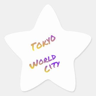 Tokyo world city, colorful text art star sticker