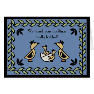 Tole Twin Duckling Baby Boys Congratulations Card