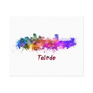 Toledo OH skyline in watercolor Canvas Print