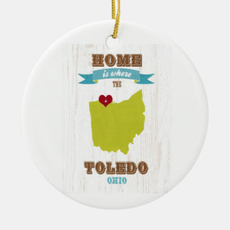 Toledo, Ohio Map – Home Is Where The Heart Is Ceramic Ornament