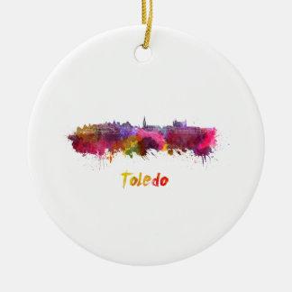 Toledo skyline in watercolor ceramic ornament