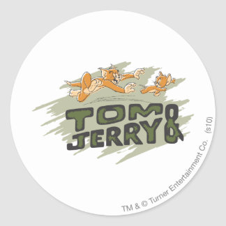 Tom and Jerry Chase Logo Round Sticker