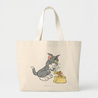 Tom and Jerry Feed The Cat Large Tote Bag