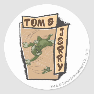 Tom and Jerry On A Tan Couch Classic Round Sticker