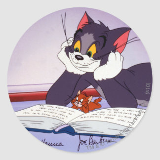 Tom And Jerry Reading Book Autographed Classic Round Sticker