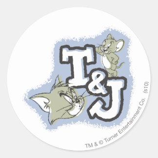 Tom and Jerry T&J Logo Round Sticker