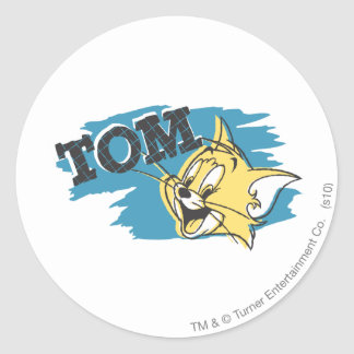 Tom Blue and Yellow Logo Classic Round Sticker