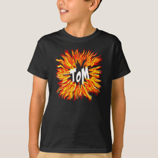 Tom Name Star on Fire T-Shirt