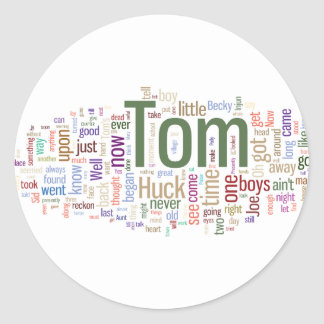 Tom Sawyer Word Cloud Classic Round Sticker