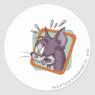 Tom Scaredy Cat Round Sticker